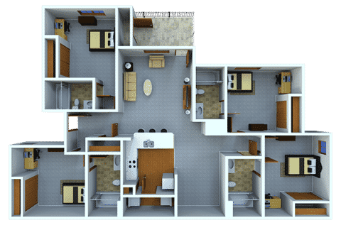 4 Bed / 4 Bath / 341 sq ft / Rent: $525 per bedroom